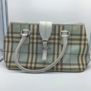 BURBERRY blue nova check&white leather women's bag